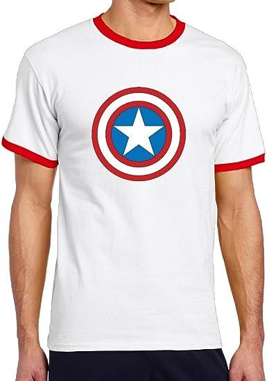 xxfz Hombres del Capitán América superhéroe Marvel Comics rojo contraste Color T camisas: Amazon.es: Ropa y accesorios