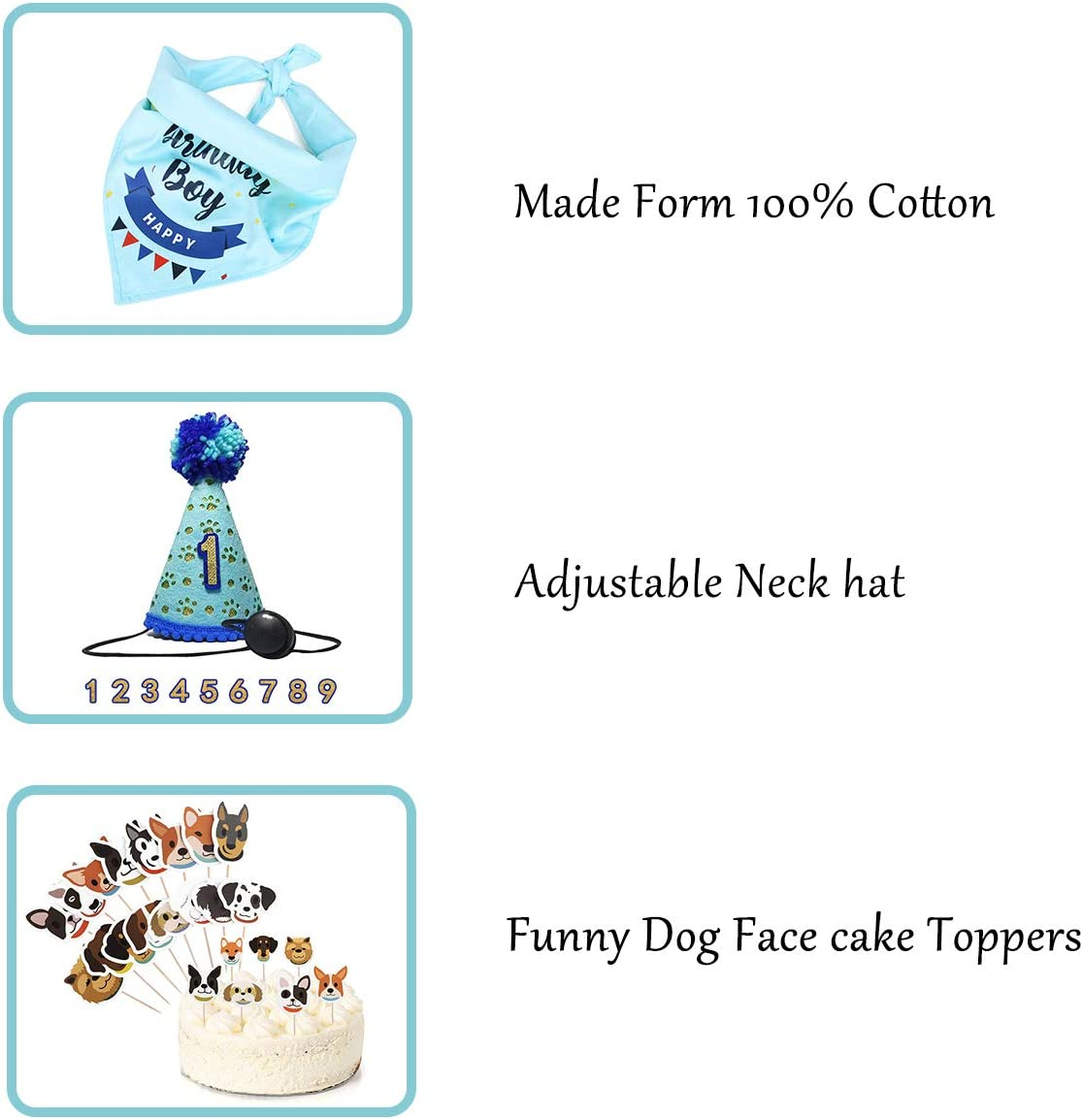 Coomour Dog Birthday Hat Pet Birthday Bandana Supplies Funny Paws Balloon Cute Happy Happy Birthday Banner with Cake Topper Decorations