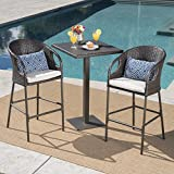 Big Rock Outdoor 3 Piece 40 Inch Multibrown Wicker Square Bar Set with Light Brown Water Resistant Cushions