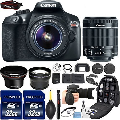 Canon EOS Rebel T6 18MP DSLR Camera with 18-55mm IS II Lens, Kit Includes, 58mm HD Wide Angle Lens, 2.2x Telephoto Lens, 2Pcs 32GB Commander Card, Extra Battery, Backpack Case