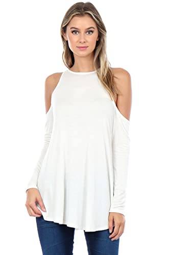 Made In USA High Neck Cold Shoulder Long Sleeves Relaxed Fit Flare Tunic Top