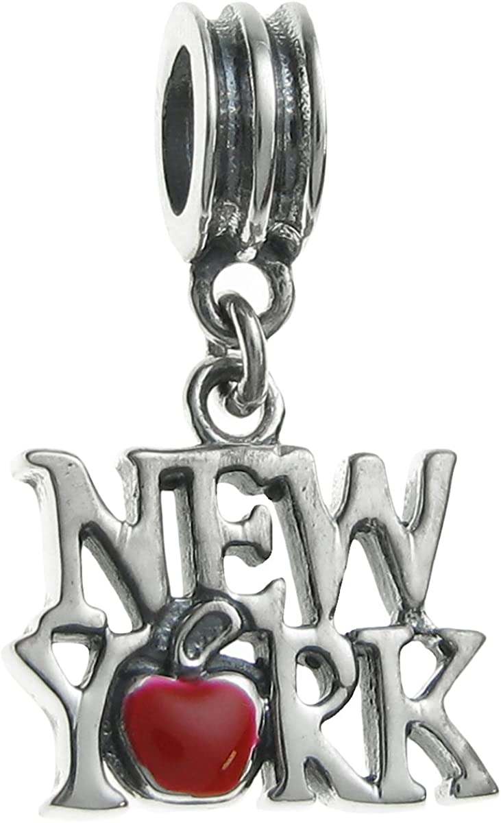 Queenberry Sterling Silver New York City Big Red Apple Enamel European Style Dangle Bead Charms