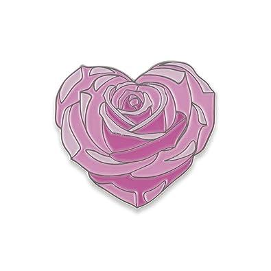 Amazon heart shaped pink rose flower enamel lapel pin 1 pin heart shaped pink rose flower enamel lapel pin 1 pin mightylinksfo