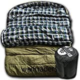 Wolftraders TwoWolves -30 Degree Premium Canvas Two Person Sleeping Bag, Green/Blue Review