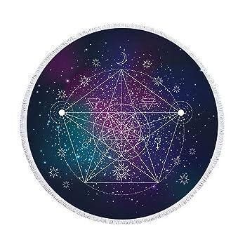Atlas de estrellas de colores redondas playa manta con borlas sol luna estrellas Universo redondean playa