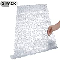SONGZIMING 2 Pack Pebble Bathtub Mat Non-Slip Shower Mats with Suction Cups, Drain Holes for Bathroom Tub 16 W x 35 L Inches (Clear)