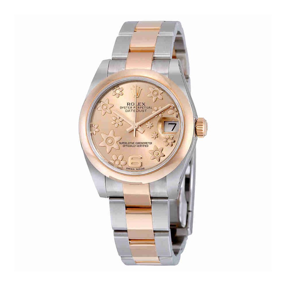 baf7da6efd5a3 Amazon.com  Rolex Datejust Lady 31 Pink Raised Floral Motif Dial Stainless  Steel and 18K Everose Gold Rolex Oyster Automatic Watch 178241PFAO  Watches