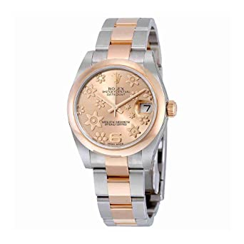 9b7017c2b08 Image Unavailable. Image not available for. Color: Rolex Datejust Lady 31  Pink Raised Floral Motif Dial ...