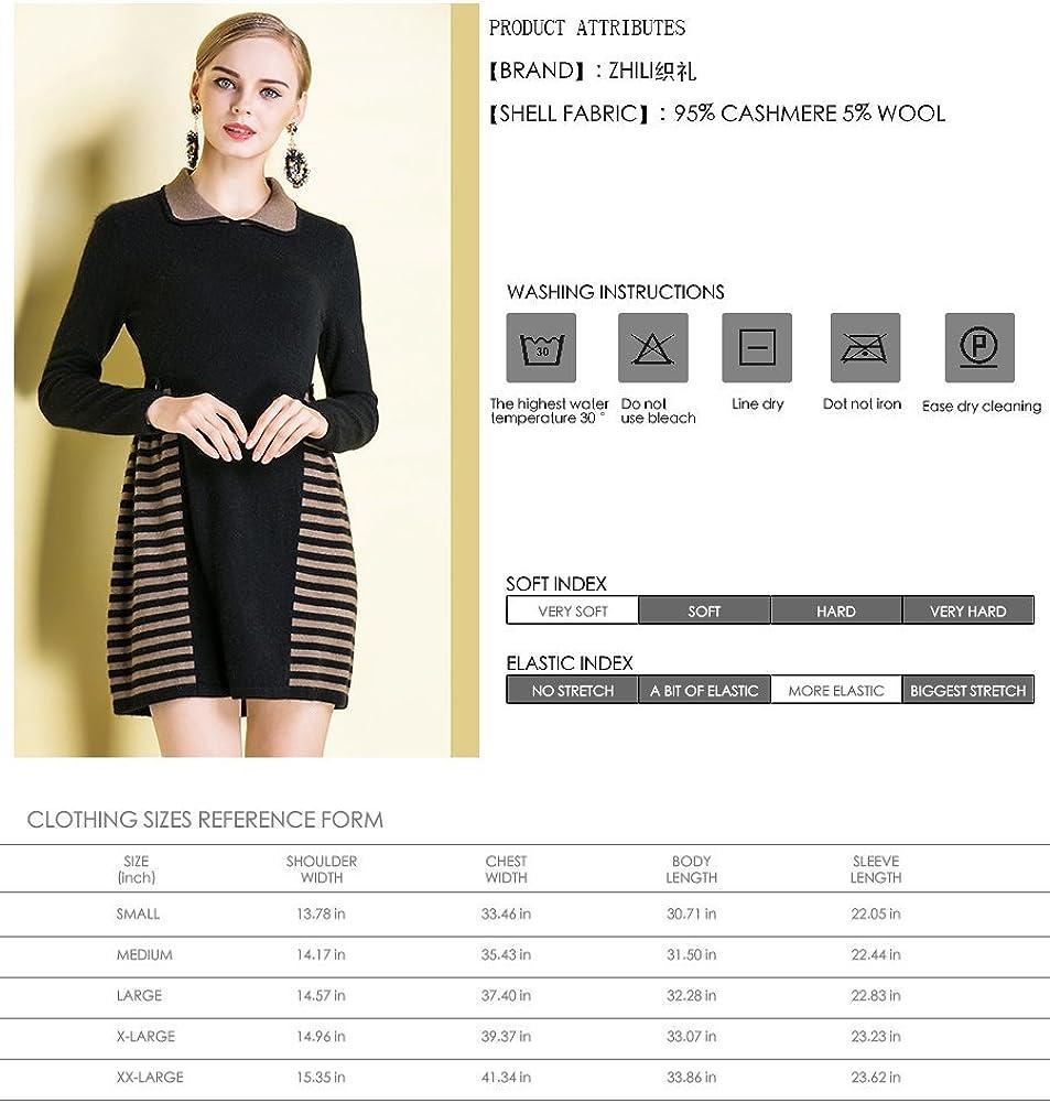 织礼 Zhili Warm and Soft 100/% Cashmere Bodycon Sweater Dress