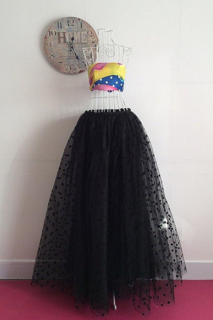 flowerry Women Polka Dot Tulle Knee Length Skirt Wedding Bridesmaid Tutu Skirt Custom Color