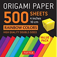 """Origami Paper 500 sheets Rainbow Colors 4"""" (10 cm): Tuttle Origami Paper: High-Quality Double-Sided Origami Sheets…"""