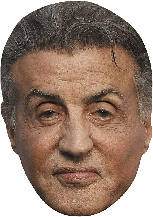 Card Face and Fancy Dress Mask Sylvester Stallone Celebrity Mask