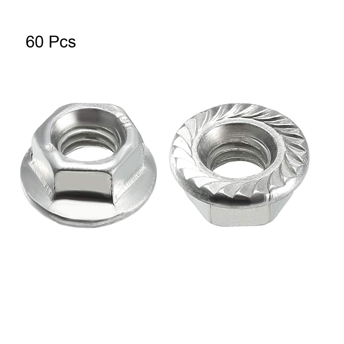 uxcell/® M8 Serrated Flange Hex Lock Nuts Carbon Steel 30 Pcs