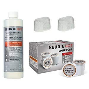 Keurig Descaling and Maintenance Kit by AMC - Includes 14 Ounce Descaling Solution, 10 Keurig Rinse Pods & 2 Replacement Water Filters