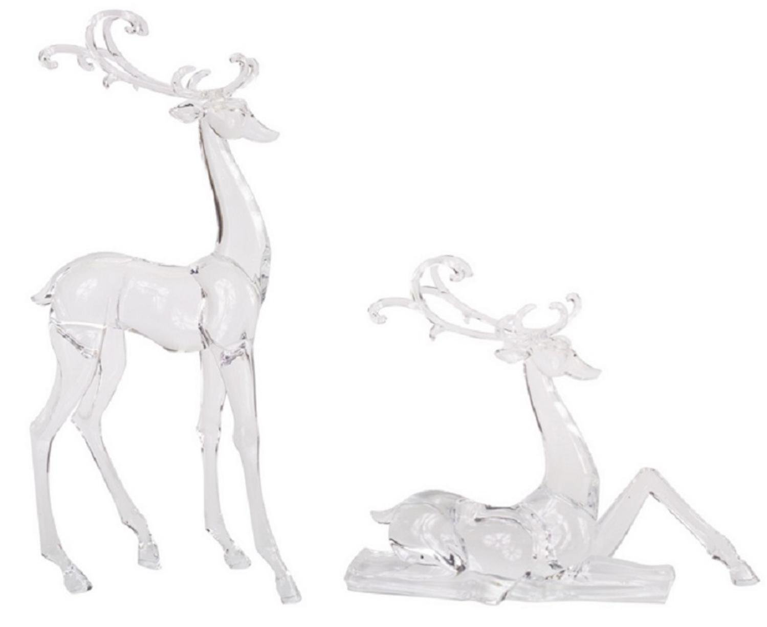 Clear Reindeer Christmas Tabletop Decor Set of 2