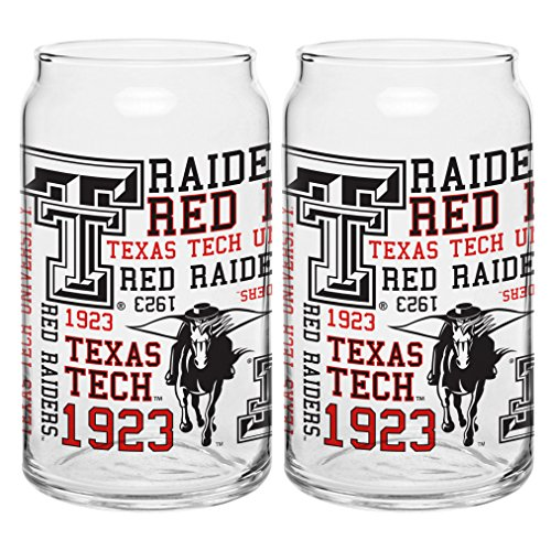NCAA Texas Tech Red Raiders Satin Etch Rocks Glass, 14-ounce, 2-Pack (Glass Raiders Texas Tech Red)