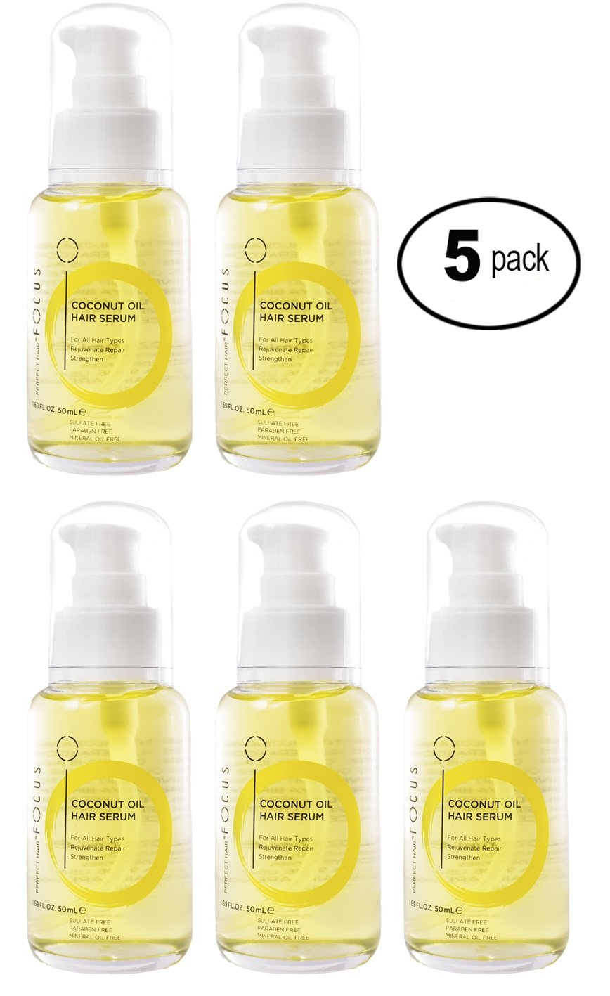 Coconut & Olive Oil Hair Serum - Scalp Treatment for Damaged Hair Enhanced with Aloe Vera Juice - Anti Frizz Hair Moisturizer Hydrates & Adds Elasticity - 50ml (5 Pack)
