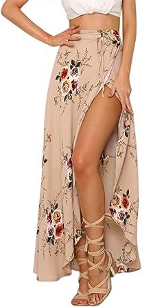 Aivtalk - Falda Asimétrica de Mujer Primavera Verano Estampado ...