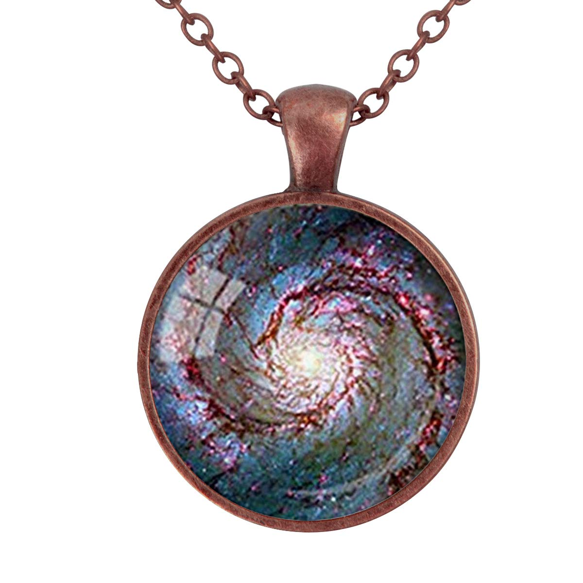 Lightrain Whirlpool Galaxy Space Astronomy Pendant Necklace Vintage Bronze Chain Statement Necklace Handmade Jewelry Gifts