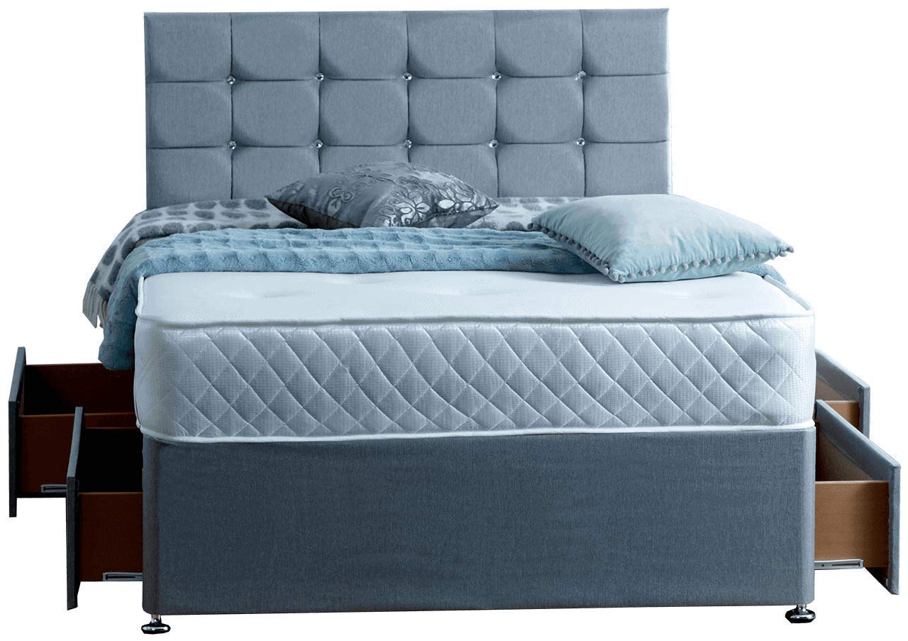3FT Single 2 DRAWERS SAME SIDE Paris Grey Fabric Divan Bed Set - Memory Mattress and Headboard. UK. ComfoRest