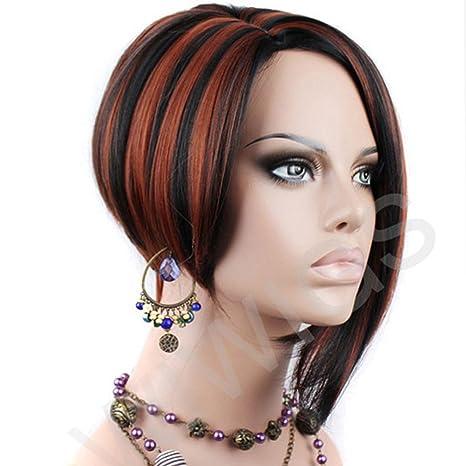 POSH corto peluca Bob pelo asimétrica cobre rojo mezcla negro señoras peluca Wiwigs UK