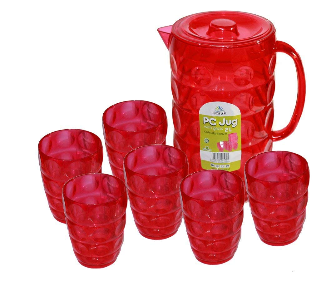 2 Litre Multi Purpose Plastic Jug with 6 Glasses Set for BBQ Picnic Water Juice Outdoor Dining BPA Free High-Quality Jug (Red) ARSUK