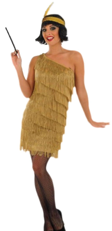 Fancy Ole - Damen Frauen Gold Flapper Charleston 20er 20er 20er Jahre Kostüm, XXL, Gold 5c9013