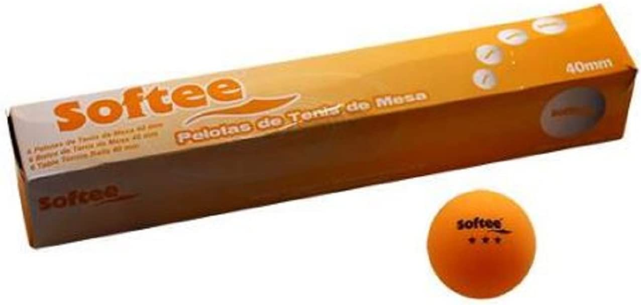 Softee Equipment Juego 6 Pelotas Tenis de Mesa 3 Estrellas Naranja