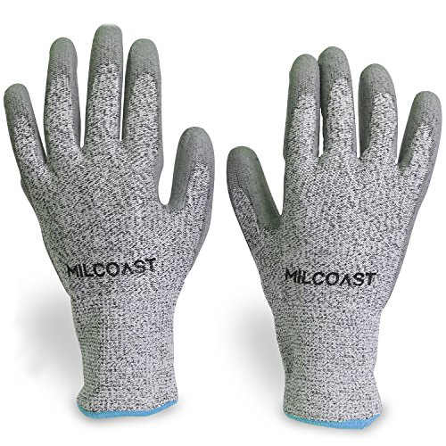 (Milcoast Level 5 Cut Resistant Gloves - Polyurethane Palm Coated for Cutting, Kitchen, Garden, Work and Handling - Pack of 3 Pairs (Extra Large))