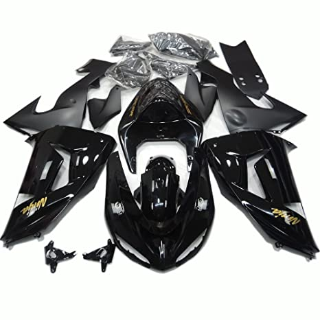 ABS Injection Molding - Gloss Black Fairing Kit for Kawasaki Ninja ZX10R 2006 2007