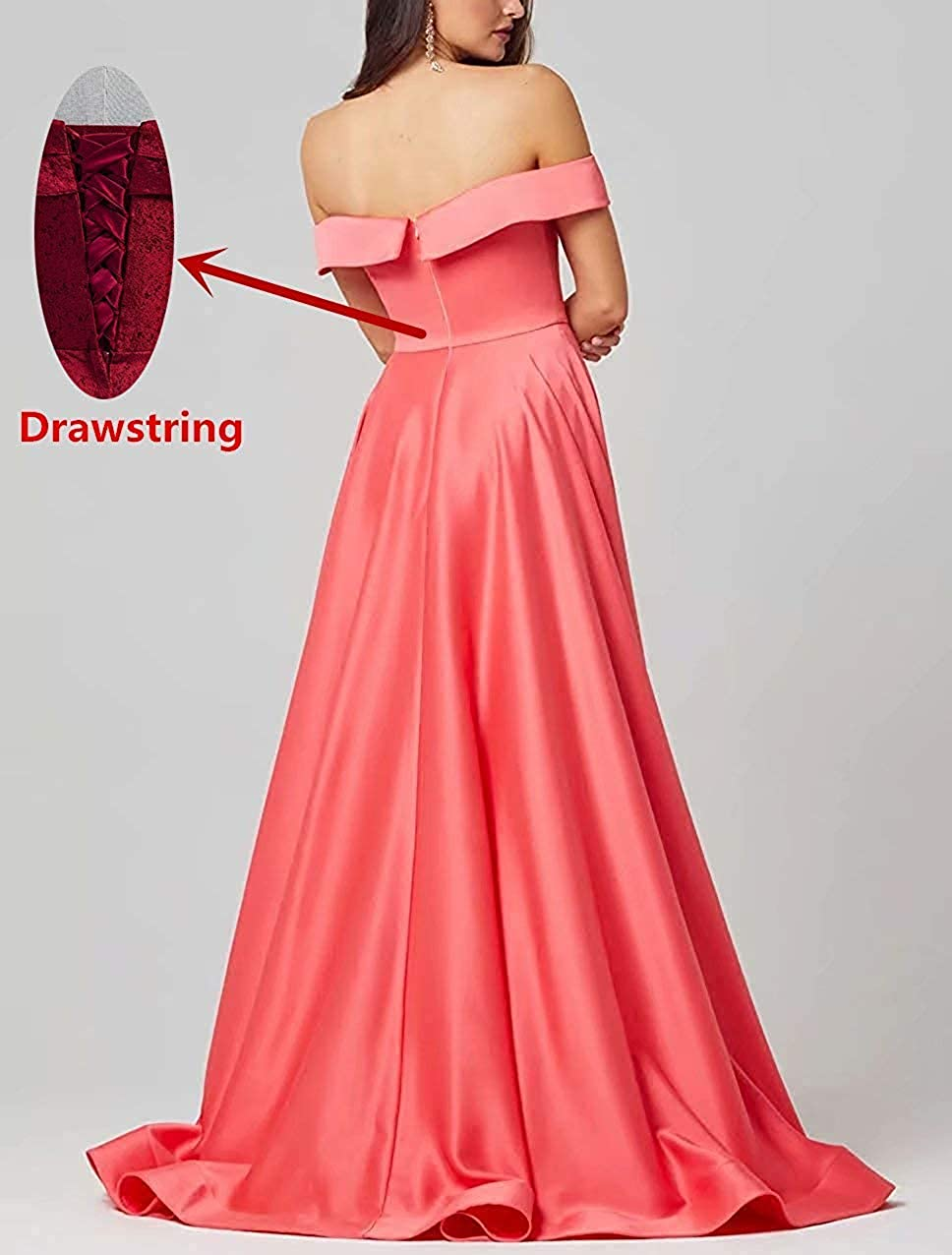 Qiuqier Femme Élégante Épaules Dénudées Satin Fendue Robe de Soirée de Cérémonie Longue Rouge