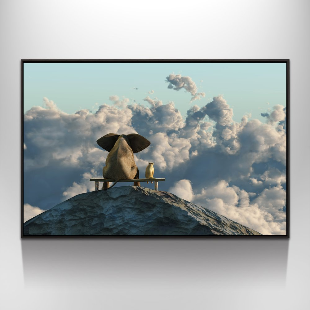 Visual Art Decor Modern Animals Canvas Prints Wall Art Elephant and Dog Picture Framed and Stretched Ready to Hang (Mountain Top, 32''x48''Floater Frame)
