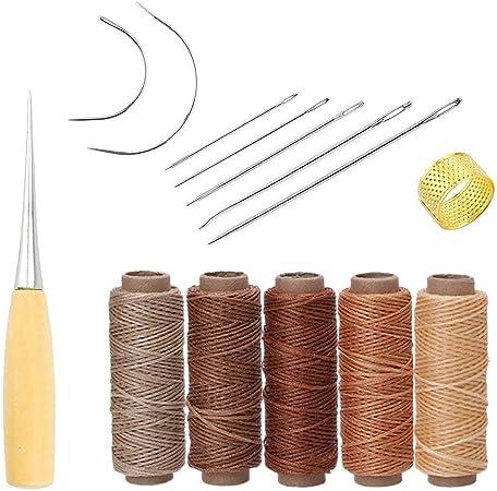 yulakes yulakes 14pcs piel Craft herramienta agujas para coser a mano tapicería alfombra piel lienzo DIY costura suministros con 5pcs 50 M 150d piel costura hilo de cera: Amazon.es: Hogar