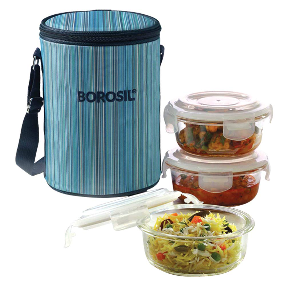 Borosil Klip N Store Round Glass Lunch Box Set of 3, 400ml, Blue Lunch Boxes