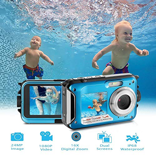 Waterproof Digital Camera Full HD 1080P Underwater Camera 24MP Video Recorder Camcorder Point and Shoot Camera Selfie Dual Screen Waterproof Camera for Snorkeling (Camera Video Underwater)