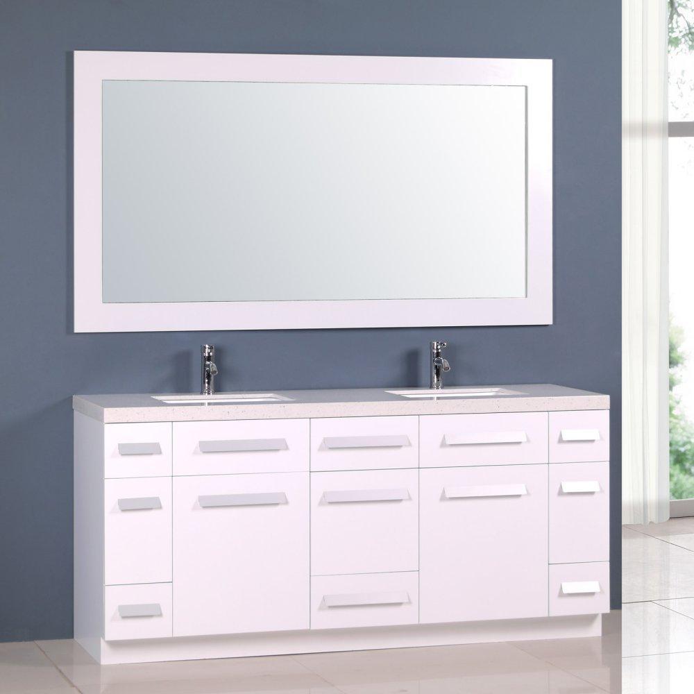Amazon.com: Design Element Moscony Double Sink Vanity Set with White ...