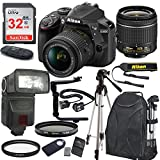 Nikon D3400 24.2 MP DSLR Camera (Black) with AF-P DX NIKKOR 18-55mm f/3.5-5.6G VR Lens Bundle includes 32GB Memory + TTL Flash + Deluxe Backpack + Professional Accessories