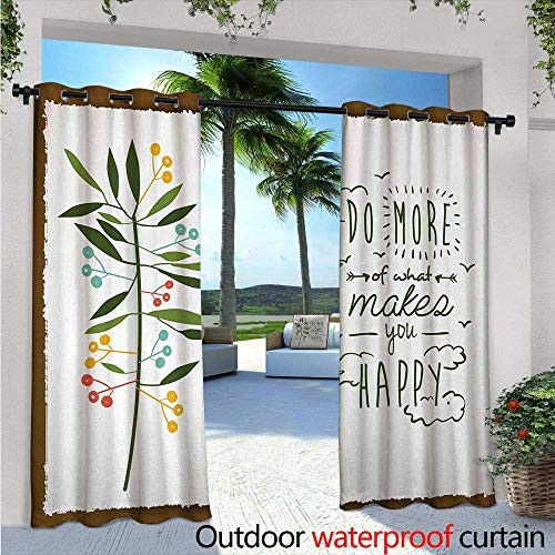 """Quotes Outdoor Privacy Curtain for Pergola Progress Ideas Design Ideology Mindfulness Olive Fruits Flying Birds Leaf Thermal Insulated Water Repellent Drape for Balcony W108"""" x L96"""" Forest Green Brow"""