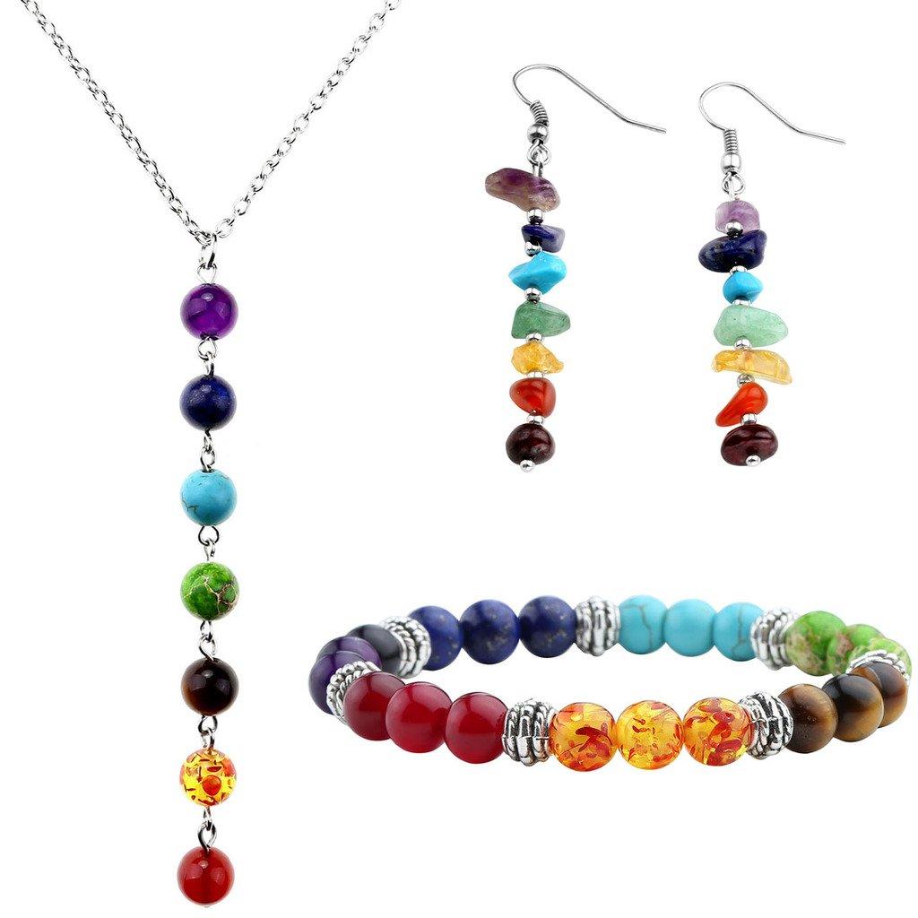Top Plaza 7 Chakra Lava Rock Stone Beads Yoga Reiki Healing Energy Balancing Necklace Bracelets Earrings Jewelry Set(#1 7 Chakra)