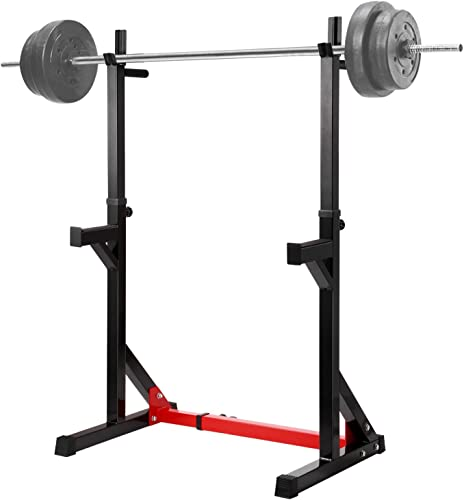 Ollieroo Multi-Function Barbell Rack Dip Stand Barbell Stand Weight Lifting Rack Gym Family Fitness Adjustable Squat Rack Weight Lifting Bench Press Dipping Station, Height Range 40.6 to 64.2