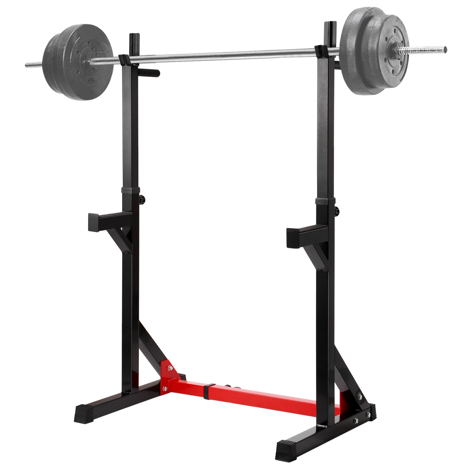 Black Ollieroo MultiFunction Barbell Rack Dip Stand Gym Family Fitness Adjustable Squat Rack Weight Lifting Bench Press Dipping Station