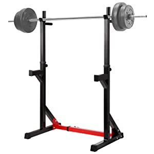 """Ollieroo Multi-Function Barbell Rack Dip Stand Gym Family Fitness Adjustable Squat Rack Weight Lifting Bench Press Dipping Station, Height Range 40.6"""" to 64.2"""""""