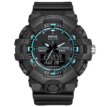 SW Watches SMAEL Relojes Deportivos para Hombres Militar 50M Impermeable Reloj LED Hombres Relojes Militares Reloj De Pulsera Digital con Alarma,D: ...