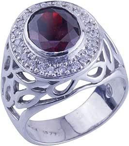 Subhathi Men's Rhodium Plated Silver 925 Cubic Zirconia Ring - Italy 20
