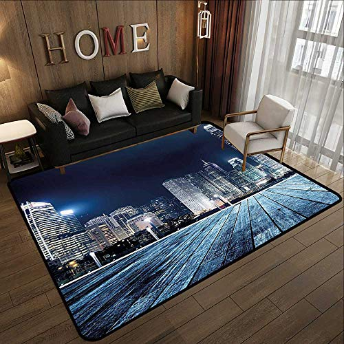Office Floor mats,Landscape,Asia China Hong Kong City Skyline View at Blue Night Towers and Skyscapers Photo,Navy Blue 71