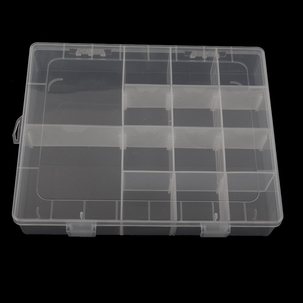 transparentes Tinksky 14-red de almacenamiento pl/ástico envase casos joyero organizador con separadores removibles