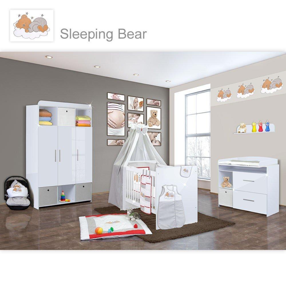 Babyzimmer Mexx in Weiss Hochglanz 22 tlg. mit 3 türigem Kl. + Sleeping Bear Grau