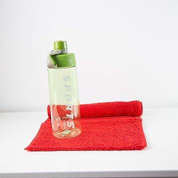 Botella de agua deportiva, color verde lima, incluye toalla de gimnasio personalizada con bolsillo con cremallera, rojo: Amazon.es: Deportes y aire libre