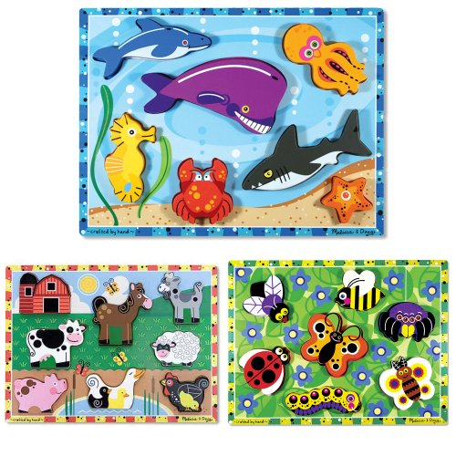 Melissa & Doug Sea Life, Farm, and Insects Wooden Chunky Puzzle Bundle (Set of 3) (Insects Wooden Chunky Puzzle)
