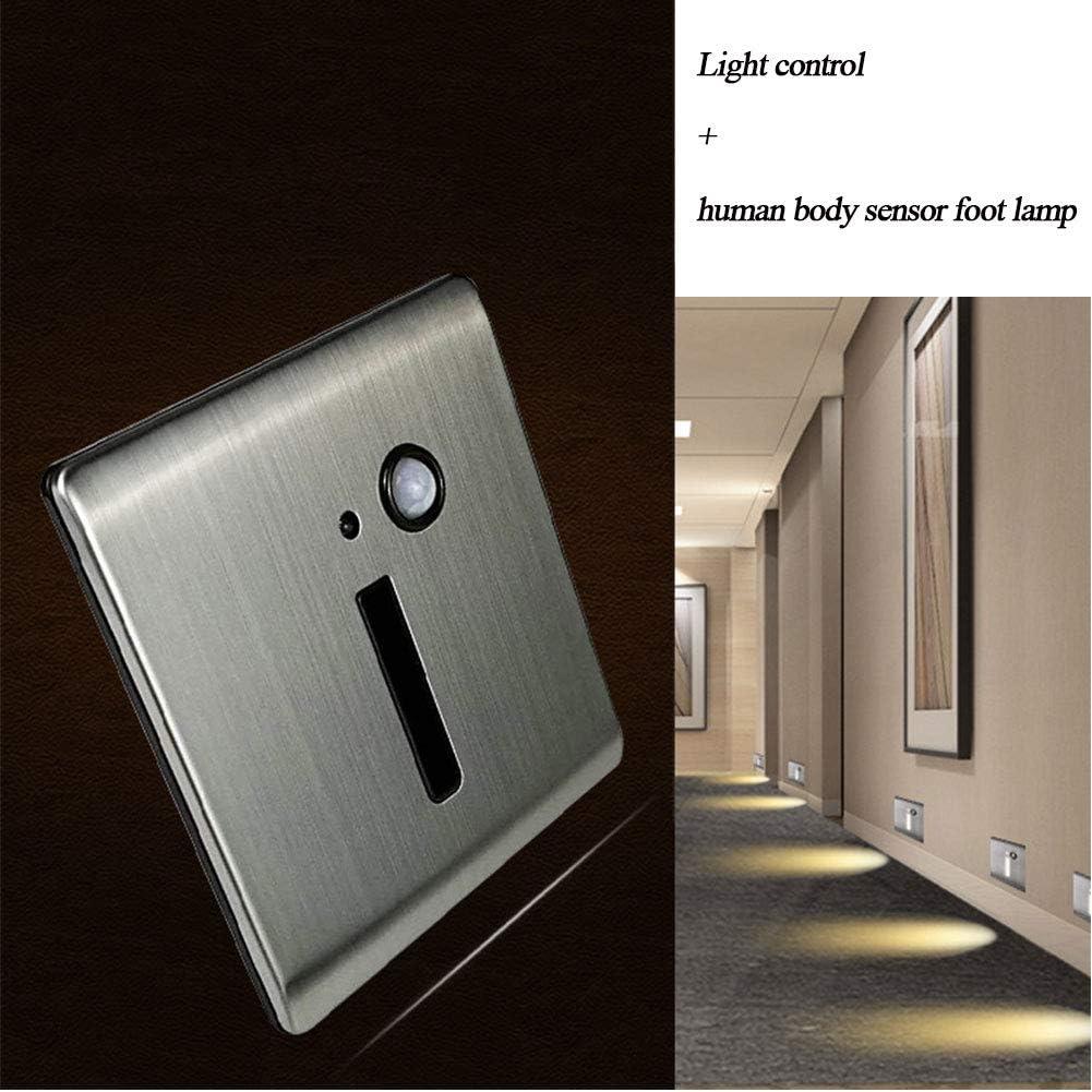 AOKARLIA Luz de Escalera con Sensor Lámparas LED Empotrables de Pared Iluminacion Escalera LED Escalera Empotrables, Sensor Inteligente,Plata,90 * 86MM Warm Light: Amazon.es: Hogar